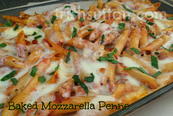 Baked Mozzarella Penne; Recipe for fall! Mezzetta is giving away a Perfect Pasta Night Kit & a $500 grocery gift card. https://ooh.li/26ecc3a #fallforflavor TrishSutton.com