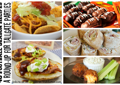 40 Football Season Recipes; A Round-Up For Tailgate Parties. From meatless appetizers to sweet treats. Buffalo, baked, dipped & wrapped recipes. TrishSutton.com