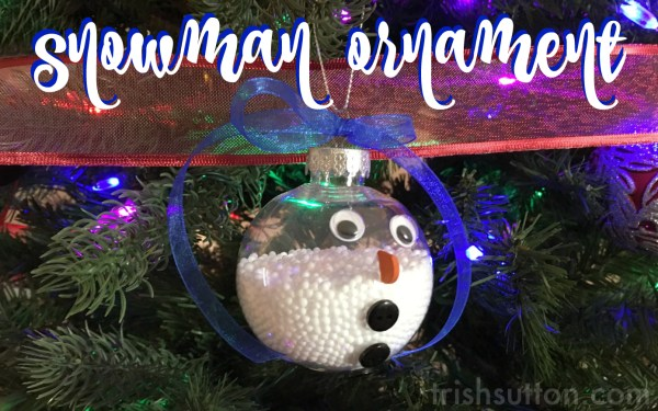 Snowman Ornament; a simple creation with a clear bulb & faux snow. A great gift for any Christmas tree. TrishSutton.com