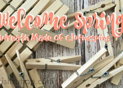 Spring is in the air. And now Spring is on our front door in the form of 100 Clothespins! Welcome Spring: Wreath Made Of Clothespins.