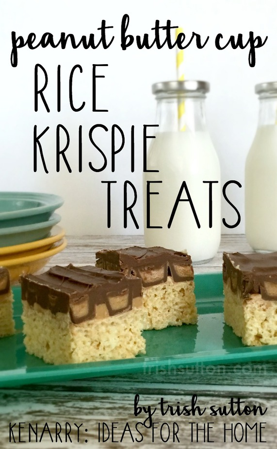 A sweet no bake treat for summer parties, sleepovers and all those Peanut Butter & Chocolate lovers. Peanut Butter Cup Rice Krispie Treats.