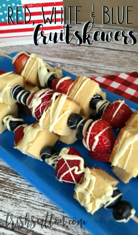 Red, White and Blue Fruit Skewers for Independence Day, Olympics and Summer BBQs. TrishSutton.com