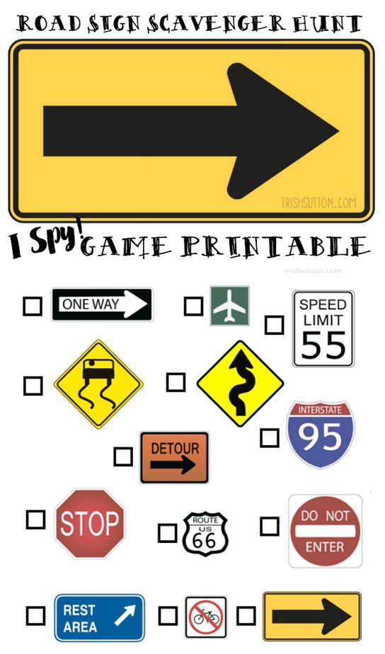 Road Sign Scavenger Hunt; Free Printable for Kids on Road Trips. TrishSutton.com