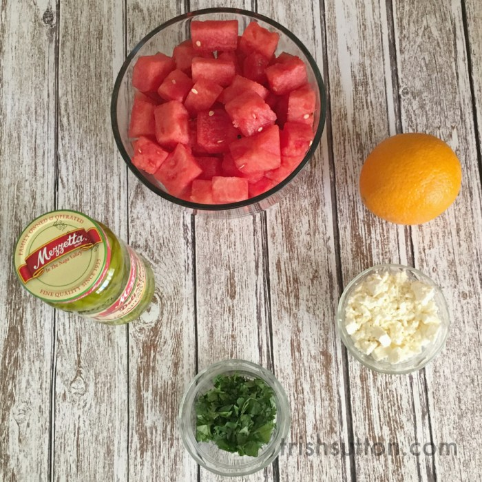 Watermelon Summer Salad Recipe; Made with Mezzetta Jalapeños and Feta Cheese. Mezzetta Grill Giveaway. #BoldBrightSummer #Mezzetta TrishSutton.com.