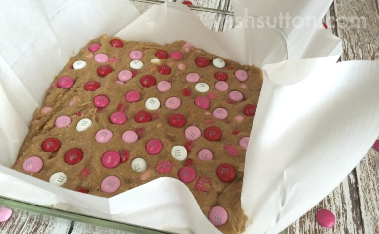 Valentine Heart Cookie Bars Recipe; TrishSutton.com