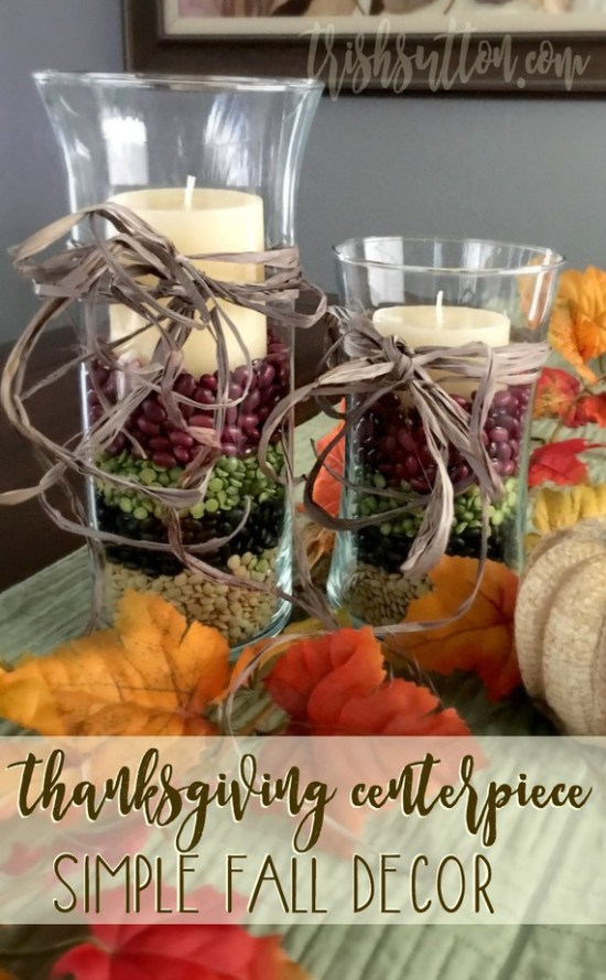 Simple Thanksgiving Centerpiece; Festive Fall Decor by Trish Sutton