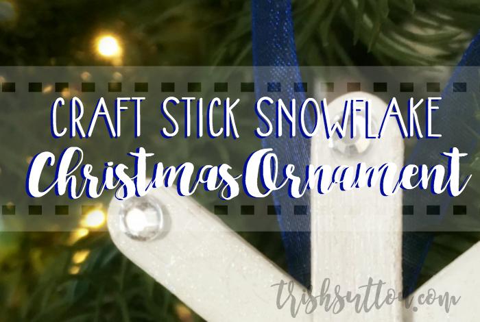 Craft Stick Snowflake Christmas Tree Ornament; TrishSutton.com