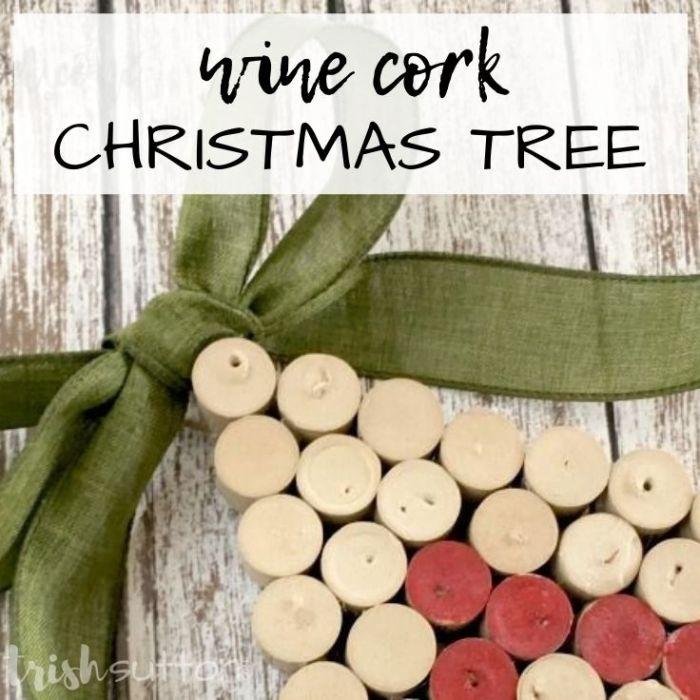 Tis' the season for a festive upcycled creation; Wine Cork Christmas Tree Holiday Decor; Upcycled Wall Hanging. A simple creation for the holiday season. TrishSutton.com