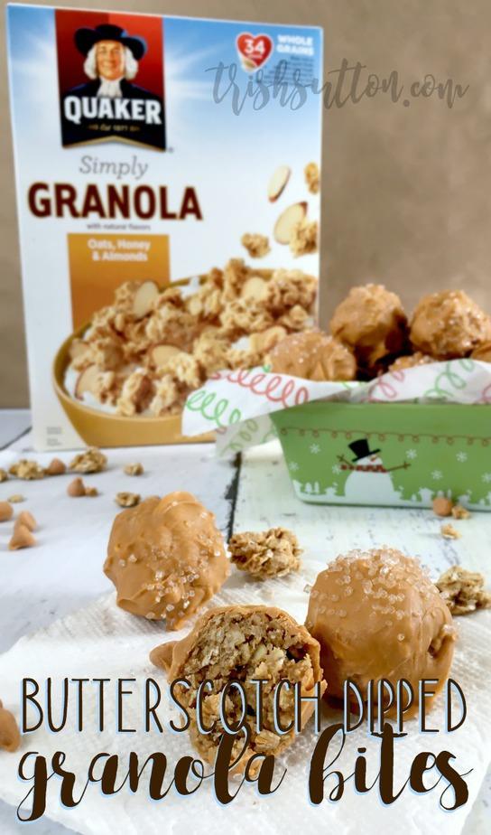 Butterscotch Dipped Granola Bites Recipe; Quaker® Simply Granola Oats, Honey & Almonds, TrishSutton.com