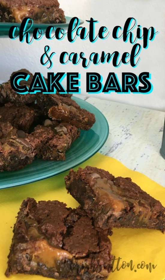 Chocolate Chip Caramel Cake Bar Recipe - TrishSutton.com