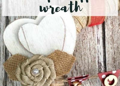 Valentine's Day Burlap Wrapped Wreath With Love Banner; TrishSutton.com