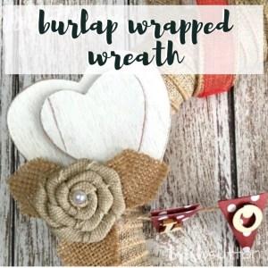 Valentine's Day Burlap Wrapped Wreath With Love Banner; TrishSutton.com