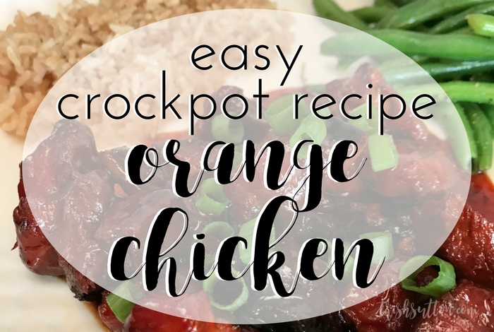A simple family meal made with just five ingredients and full of flavor; Easy Crockpot Orange Chicken Recipe. TrishSutton.com