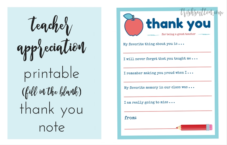 image relating to Teacher Thank You Printable called Trainer Appreciation 7 days Printable Thank Yourself Take note