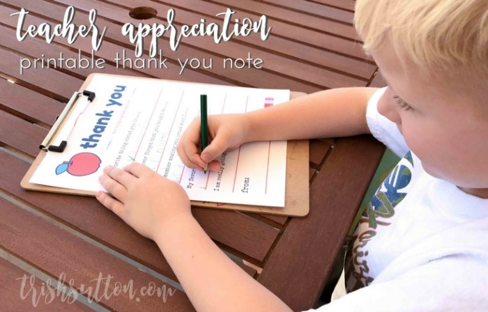 Teacher Appreciation Week Printable Thank You Note; Fill in the Blank. TrishSutton.com