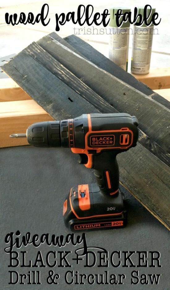 DIY Wood Pallet Table; BLACK+DECKER Drill And Circular Saw Giveaway. TrishSutton.com