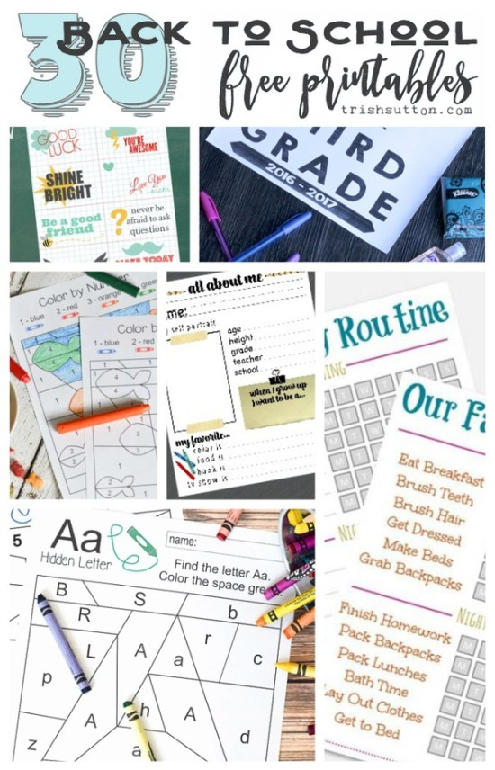 A round-up of 30 Back to School Free Printables including lunchbox notes, elementary aged worksheets and checklists for all grades including college.