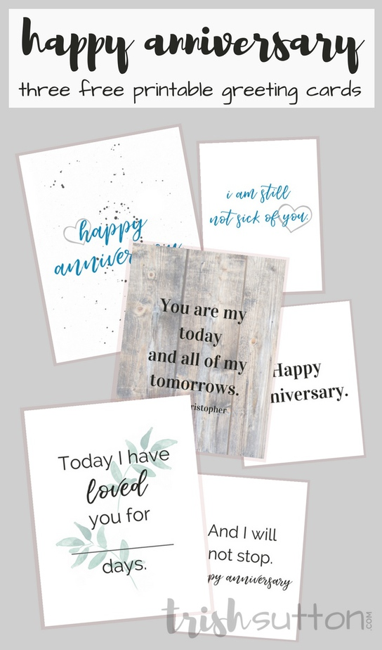 graphic relating to Happy Anniversary Printable Card identify Delighted Anniversary 3 Printable Greeting Playing cards