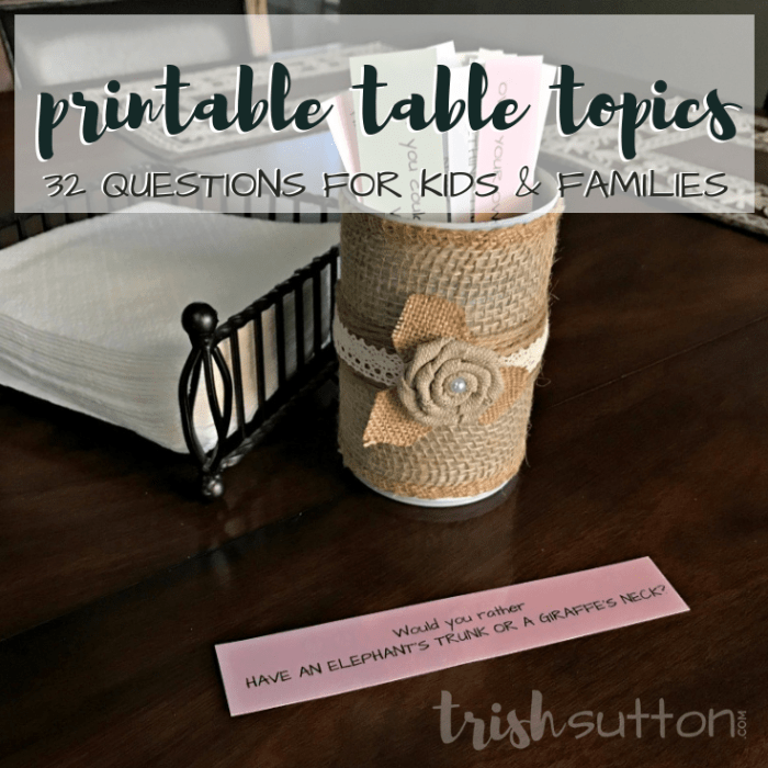 Table Topics, Conversation Starters, 20 Questions or Icebreakers all equate to a fun way to get kids talking. Printable 32 Questions for Kids & Families. TrishSutton.com
