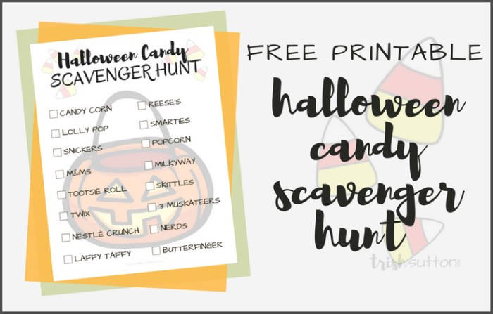 Halloween Candy Scavenger Hunt Free Printable; TrishSutton.com