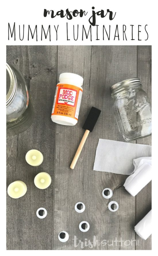 Mason Jar Mummy Luminaries are a simple and silly way to add Halloween cheer both outdoors and indoors. Along with the Mason Jars you will need a roll or two of first aid gauze and tea lights or candles. (Add my favorite battery operated tea lights and you won't even have to remember to light your mummies at night - they have timers!) TrishSutton.com