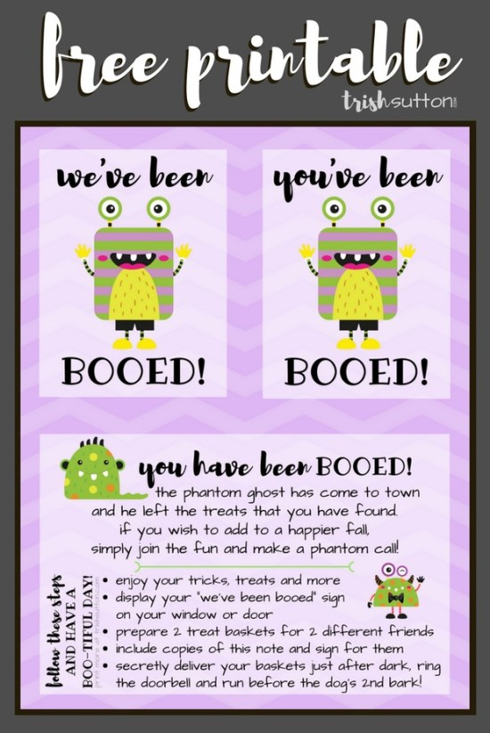 You've Been Booed is a simple game and fun way to treat friends & neighbors during the Halloween season. You've Been Booed Halloween Fun Free Printables. TrishSutton.com #halloween #printable