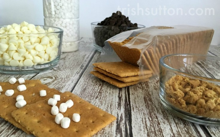 Indoor S'mores Treat: Double Chocolate S'mores Bark Recipe, Graham crackers topped with two types of chocolate, covered in marshmallow bits and graham cracker crumbs.