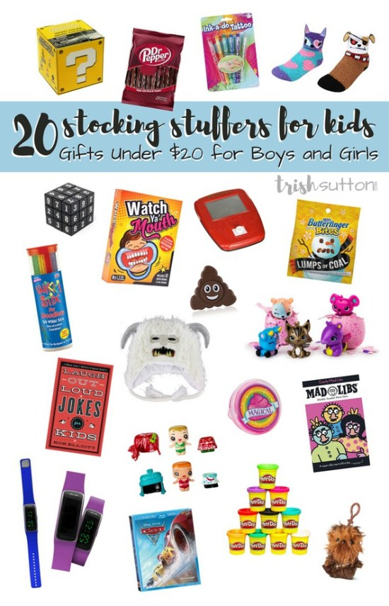 A gift guide of Kid Stocking Stuffers; 20 Gifts Under $20 for Boys and Girls.Ideas that are both inside & outside of the box. TrishSutton.com