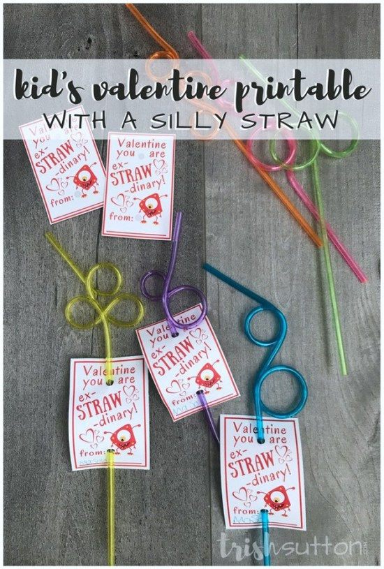 Kids Valentine Printable; Ex-STRAW-dinary Silly Straw TrishSutton.com