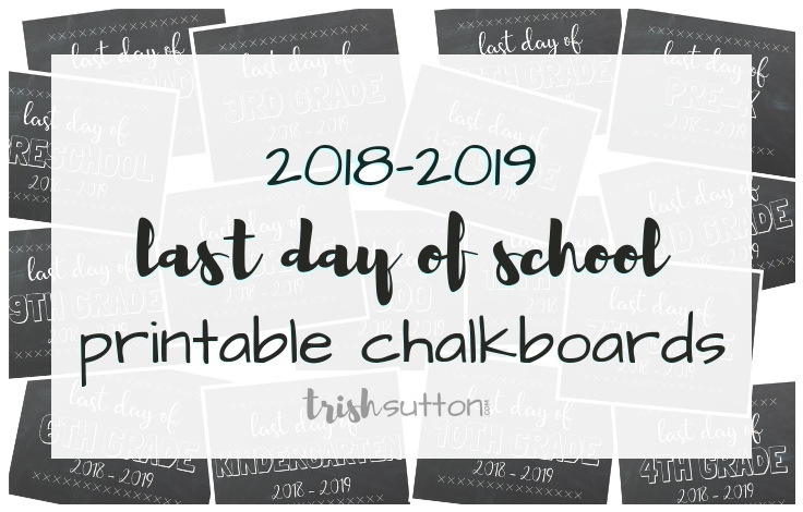 photograph about Last Day of School Printable named Past Working day of Higher education Printable Chalkboards Preschool - 12th