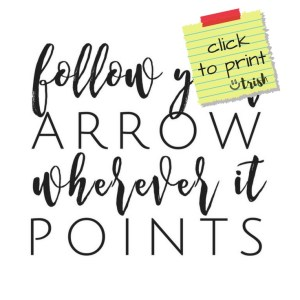 "Graduation Quote Printable doubles as both decor and a gift. Simply print and frame. ""Follow your arrow wherever it points."" TrishSutton.com"