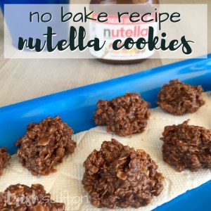 No Bake Nutella Cookies Recipe that is just as simple as No Bake Peanut Butter Cookies and it makes 36 cookies. TrishSutton.com #nutella #recipe #nobake