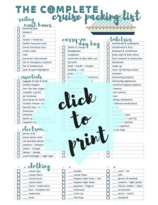 Cruise Packing List | Free Printable Complete Cruise Packing Check List that includes a detailed list of essentials, electronics, clothing and more. TrishSutton.com