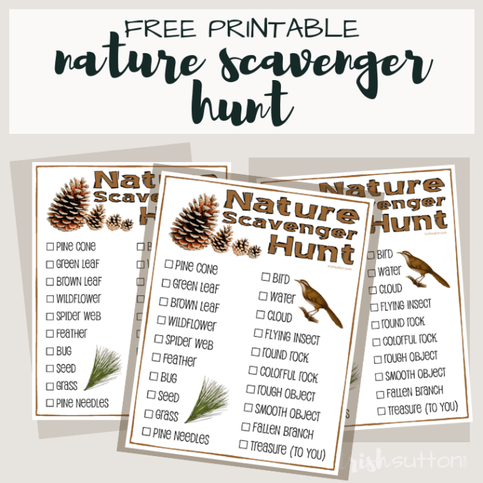 Nature Scavenger Hunt for Kids; Free Printable TrishSutton.com