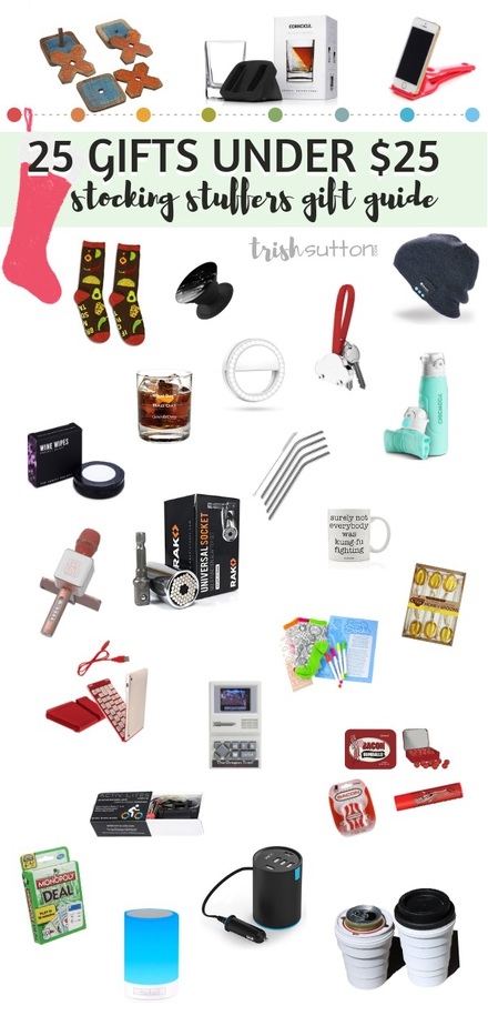 Stocking Stuffers Gift Guide   25 Small Gifts Under $25 TrishSutton.com #giftguide #Christmas #stockingstuffers #giftsforher #giftsforhim