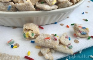 Crunchy, sweet & colorful!Chex cereal covered in vanilla, funfetti cake mix & sprinkles come together to create a party favorite. Cake Batter Muddy Buddies; TrishSutton.com