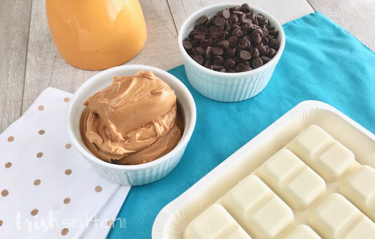 Make a crowd pleasing treat in just minutes with this incredibly easy Chocolate Peanut Butter Bark Recipe. TrishSutton.com