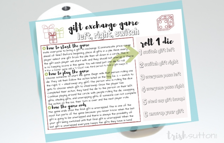 Gift Exchange Game Printable Dice Left Right Switch Christmas Party