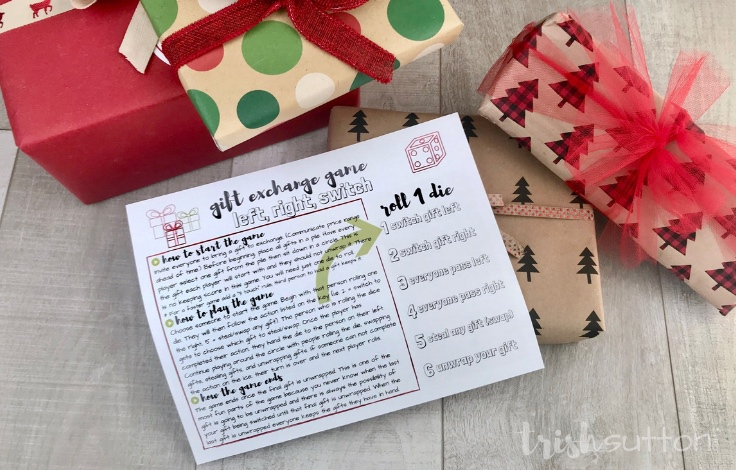This fun gift exchange game is perfect for Christmas parties. Roll of the dice, follow the printable game card then switch, steal and unwrap. Free Printable Game Card.
