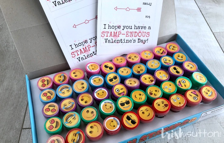 Create adorable kids Valentines with my STAMP-ENDOUS free printable and a cutesy kids pre-inked stamp.Candy free class Valentine. TrishSutton.com