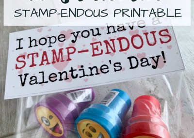 Create adorable kids Valentines with my STAMP-ENDOUS free printable and a cutesy kids pre-inked stamp. Candy free class Valentine. TrishSutton.com