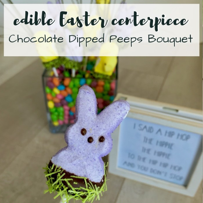 Create a festive and Edible Easter Centerpiece with Peeps, Chocolate Chips & Jelly Beans. This Chocolate Dipped Peeps Bouquet is as sweet as it is colorful. TrishSutton.com
