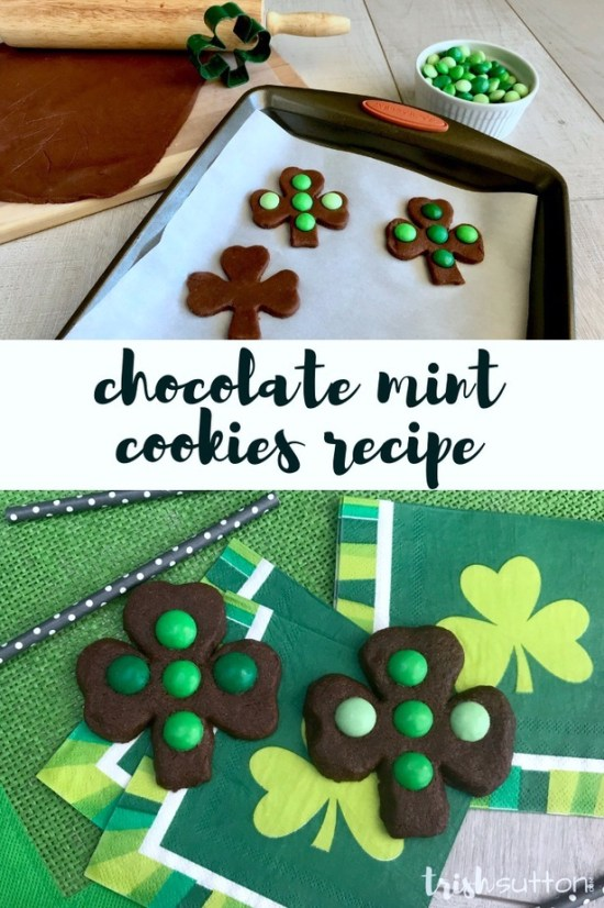 Chocolate Mint Cookies Recipe; Celebrate St. Patrick's Day with Chocolate Mint Cookies in the shape of Shamrocks with this rolled cookie recipe. #stpatricksday #cookies TrishSutton.com