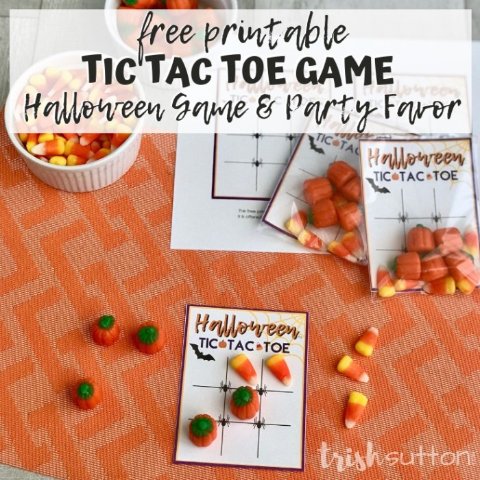 Tic Tac Toe Game Board on orange mat with candy corns and pumpkins; trishsutton.com
