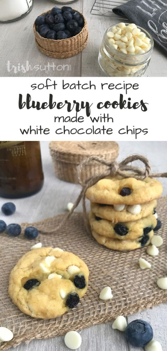 Soft Batch Blueberry Cookies made with White Chocolate Chips; Recipe TrishSutton.com
