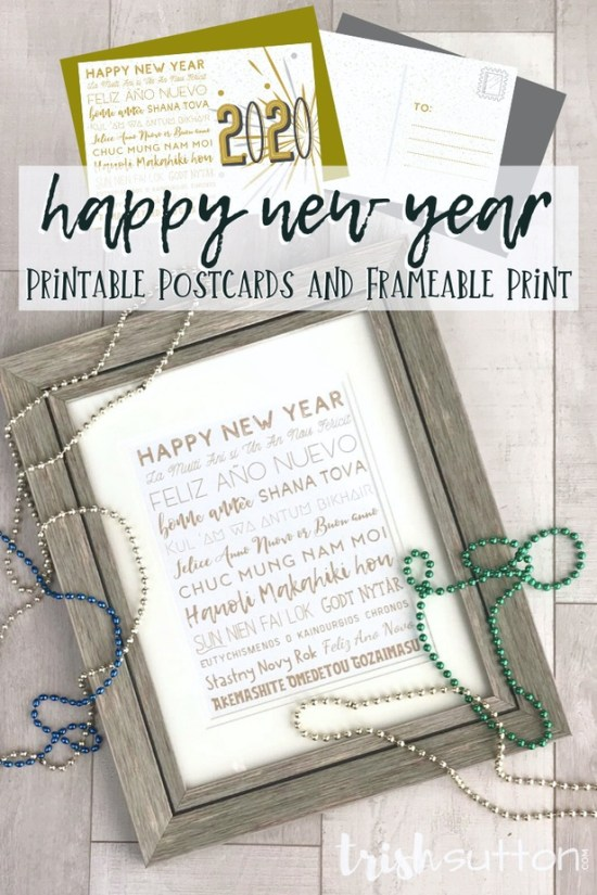 Happy New Year 15 Languages   Printable Postcards and Frameable Print
