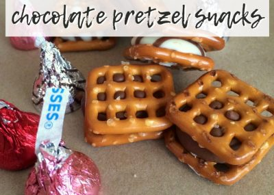 chocolate pretzel snacks with wrapped Hershey's kisses