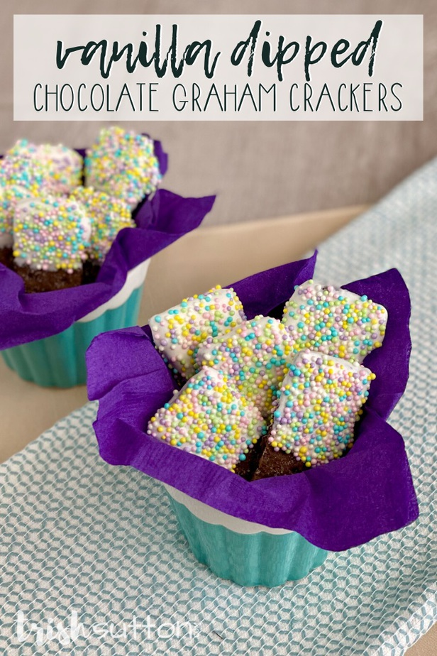 crackers covered in sprinkles on a purple napkin inside a blue bowl
