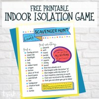 Indoor Scavenger Hunt for Kids | Free Printable Isolation Game