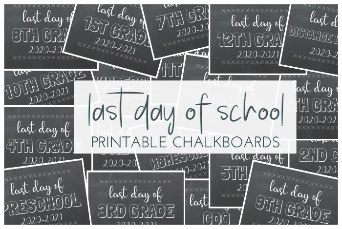 Last Day of School Free Printable Chalkboards for those final 2020-2021 school year pictures. Preschool, Pre-K thru 12th Grade (& CDO).